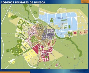 huesca mapa códigos postales